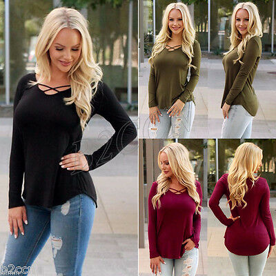 Fashion Women Casual Blouse Long Sleeve Round Neck T-Shirt Loose Summer Tops New
