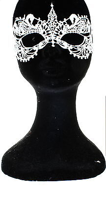 Adults Soft Lace Masquerade Eyemask Halloween Fancy Dress Accessory-White