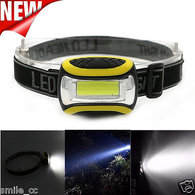 Outdoor Super Bright Waterproof COB LED 3 Modes AAA Headlamp Head Torch Light