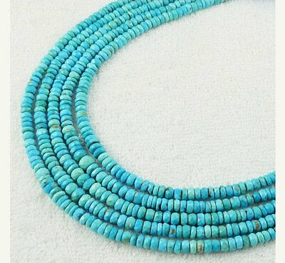 1 Strand Natural Arizona Turquoise Faceted 4.5-7mm Rondelle Drilled Beads