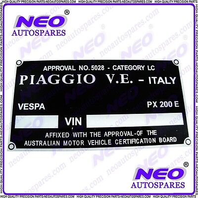 10 x Brand New Replacement Blank Piaggio Vespa Scooter Frame Plate