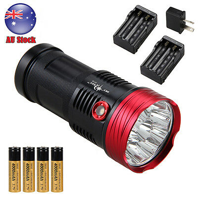 Powerful 30000LM 10x XM-T6 LED Flashlight Torch Work Light LAMP 4*18650 Charger