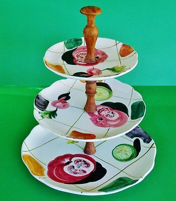 Retro 1960's *3 TIER CAKE STAND* Wood Handle/Stand - Hand Painted - made ITALY