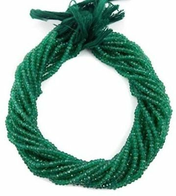 """5 Strand Natural Green Onyx Gemstone Faceted Rondelle Beads Bead 3.5-4mm 13.5"""""""