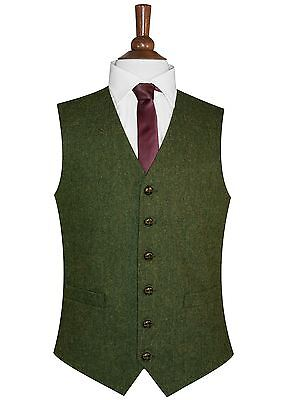 Men's Lloyd Attree & Smith Green Flecked Tweed Waistcoat - Green