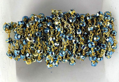 10 Feet Blue Topaz Pyrite 3-4mm Rondelle Faceted 24k Gold Plated Beaded Chain