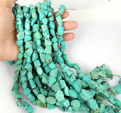 "1 Strand Turquoise Gemstone Nuggets 8x10-10x15mm Uneven Shape and Size 13"" Long"