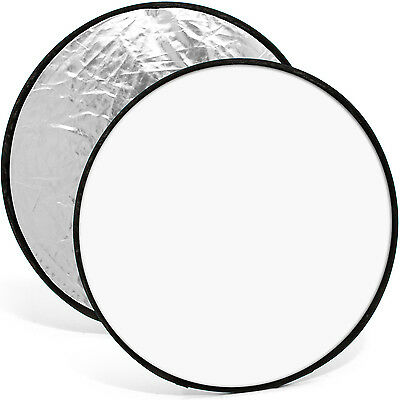 """60cm (24"""") 2-in-1 Collapsible Round Disc Studio Light Reflector - Silver & White"""