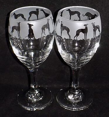 "New Etched ""Whippet"" Dog Wine Glasses- Choose 1 or 2 and Optional Gift Box"
