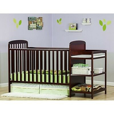 Dream On Me Anna 4-in-1 Full Size Crib and Changing Table in Cherry