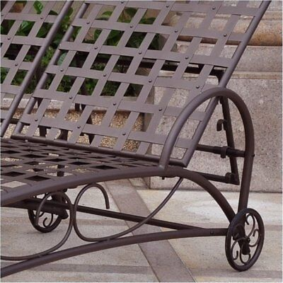 Bowery Hill Double Patio Chaise Lounge in Wrought Iron