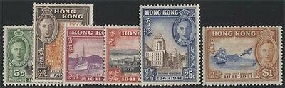 HONG KONG KGVI 1941 Centenary Set Scott 168-173 SG163-168 Lightly Hinged cv £90