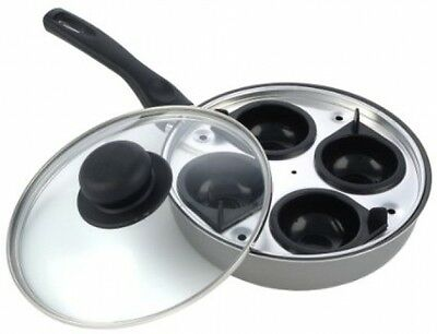 Non Stick Egg Poacher 4 Cup Poaching Frying Pan Tray Breakfast Cooking Poachers