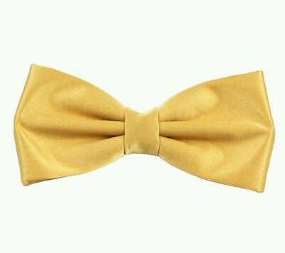 Rich gold satin bow tie for kids boy toddler or baby