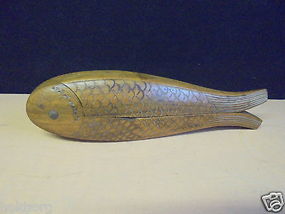 "Vintage Fish Shaped Wood Nut Crackers - Possibly Scandinavian 8"" Long"