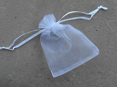 10 Wedding Favour bags, or Party bags, or gift bags, white, sheer net, tie top