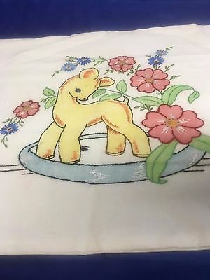 Handmade Appliqued and Embroidered Baby Pillow Cover
