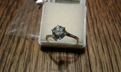 Beautiful!!!Solitaire Ring Diamond/ Moissanite Sterling .96 ct BLUE