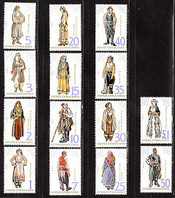 $Cyprus Sc#843-856 M/NH, complete set, costumes, Cv. $28.20