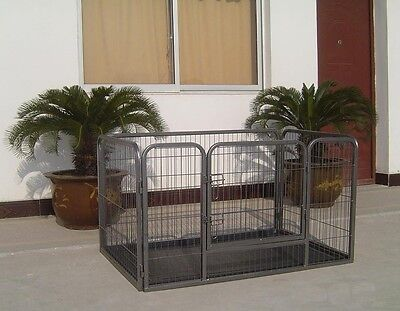 4 Sided Heavy Duty Metal Pet Play Pen Cage for Dog Puppy With Plastic Base 40168