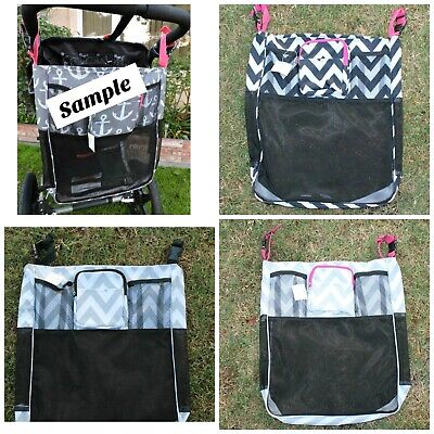Colorful Chevron Baby Stroller Mesh Storage Organizer Wheelchair Stroll Bag NEW