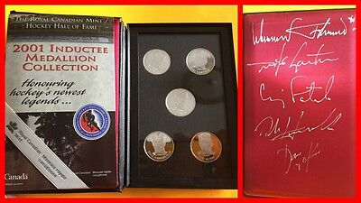 Canadian Mint 2001 Hockey Hall of Fame Inductee Silver Medallion Set SIGNED 1/20