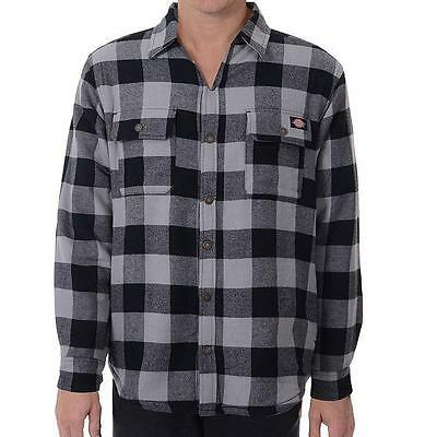 Men's Dickies Plaid Sherpa-Lined Flannel Over Shirt Jacket Snap Front 7062 Plaid