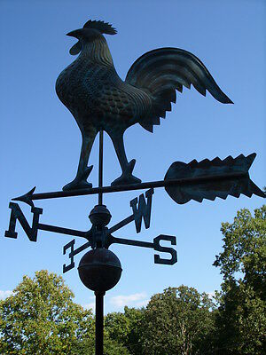 Large Rooster Weathervane Copper Functional Weather Vane Detailed Free Mount