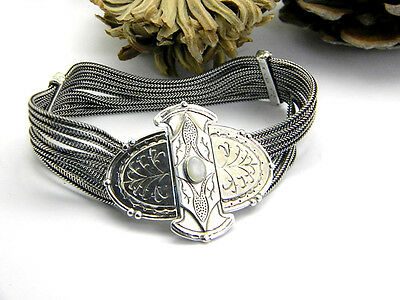 sterling silver bracelet mother of pearl statement bangle Ethnic Ottoman style