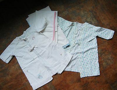 1950'S Two (2) Flannel Infant'S Dressing Gowns & Two (2) Cotton Crib Blankets