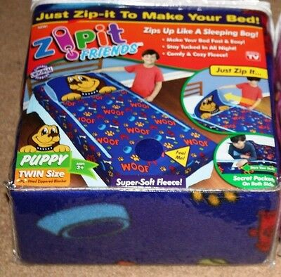 Zip It Friends Twin Size Fitted Zippered Blanket As Seen On Tv New!!!