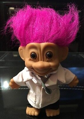 Vintage (1980's) 'Russ' Troll•Pink-haired Doctor with Stethoscope•Item #: 18310