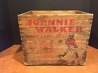 Antique Vintage Wooden Advertising Crate Johnnie Walker Red Label Scotch Whiskey