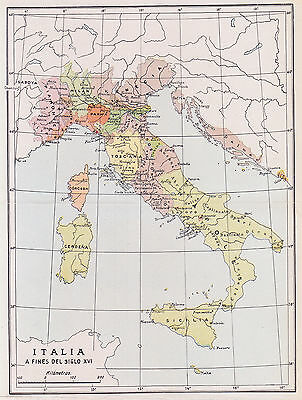 1955 Antique Map of Italy in the 16th Century