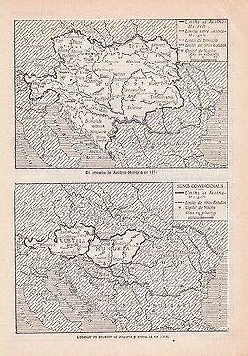 1954 Antique Map of the Austro-Hungarian Empire