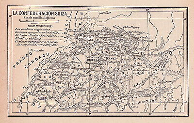 1956 Antique Map of Switzerland During the Renaissance