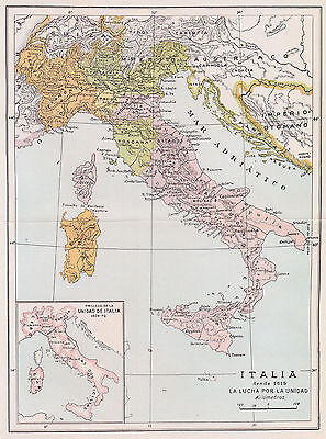 1957 Antique Map of Italy During the 19th Century