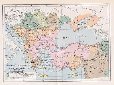 1955 Antique Map of the Balkans During the Reinassance