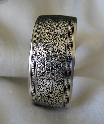 """1920's """"weh"""" Walter E Hayward~Sterling Silver Etched Grapevine Cuff Bracelet~34G"""