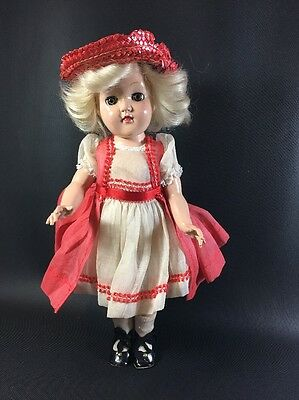 """14"""" Ideal P-90 Toni Doll 1950's With Red Dress/ Hat. Blonde Hair Brown Eyes 2D"""