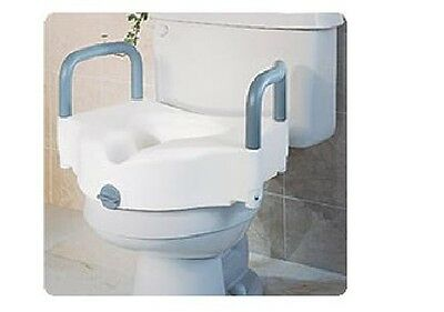 Elevated Toilet Seat With Handle 250 lb Polypropylene Resin Handicap Medical Aid