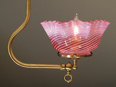 GORGEOUS! Antique Gas Light Fixture with Cranberry Swirl Shade - RESTORED!