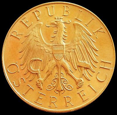 1931 Gold Austria 25 Schilling Imperial Eagle Coin Condition Mint State
