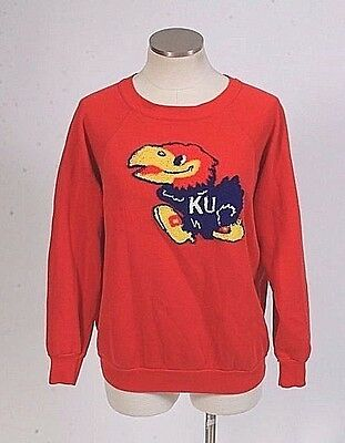 Vtg 80s Retro Red Kansas Jayhawks Embroidered Patch Sweatshirt Pullover Top Sz S