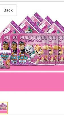 Paw Patrol Pink Girls Complete Party Pack - 16 Guests - Kids Birthday Kit
