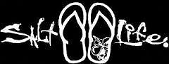 Salt Life Signature & Flip Flops Medium Decal -white