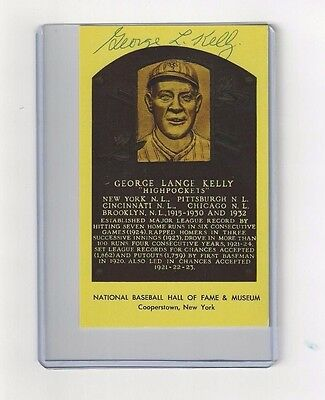 George High Pockets Kelly NY Giants Baseball Autographed HOF Plaque Postcard
