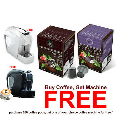 200 Espresso Coffee Pods + FREE 1 Nespresso Camptiable Coffee Capsule Machine