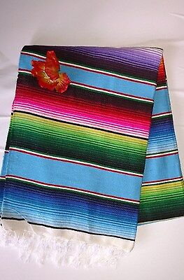 Mexican Serape Saltillo Blanket Light Blue Multicolored Southwest Aztec XL