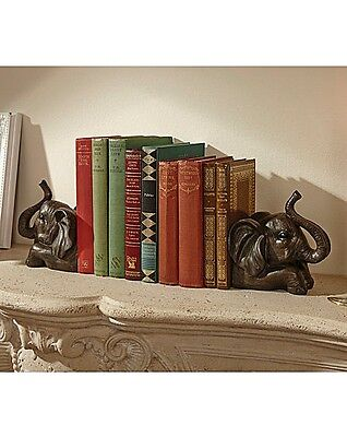 Set of 2 large Moroccan Bronze Elephants Resin Bookends Animal